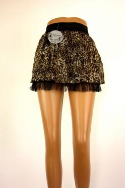 Hnědo-černá sukně s volánem
