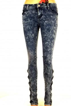 Modré plísňové džíny s ozdobou