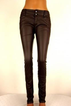 Hnědé celokoženkové kalhoty