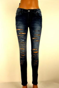 Tmavě modré trhané džíny