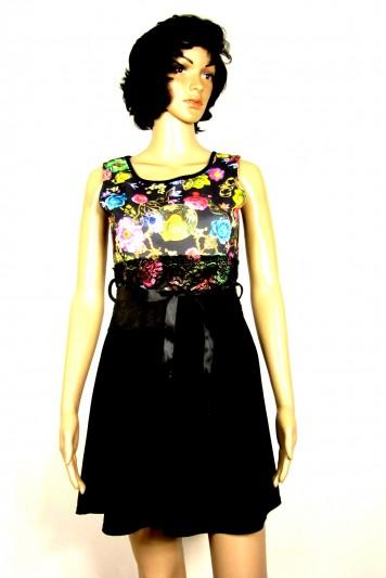 Šaty s květinovým vzorem-černá stuha - ModaFashion-de.cz b7d2aea574d