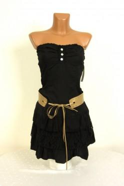 Letní černé šaty s páskem