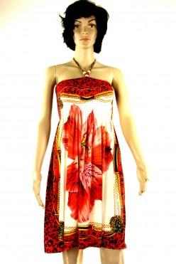 Letní šaty  červeno-béžové